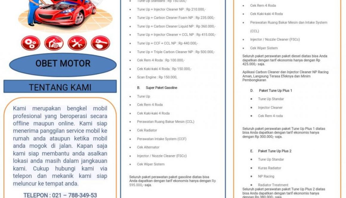 Bengkel Mobil Obet Motor Layanan HOME Service
